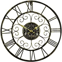Wall Clock, New 3D Retro Roman 47cm Hollow Metal Vintage Large Mute Decorative Wall Clock On The Wall Decoration Hanging W...