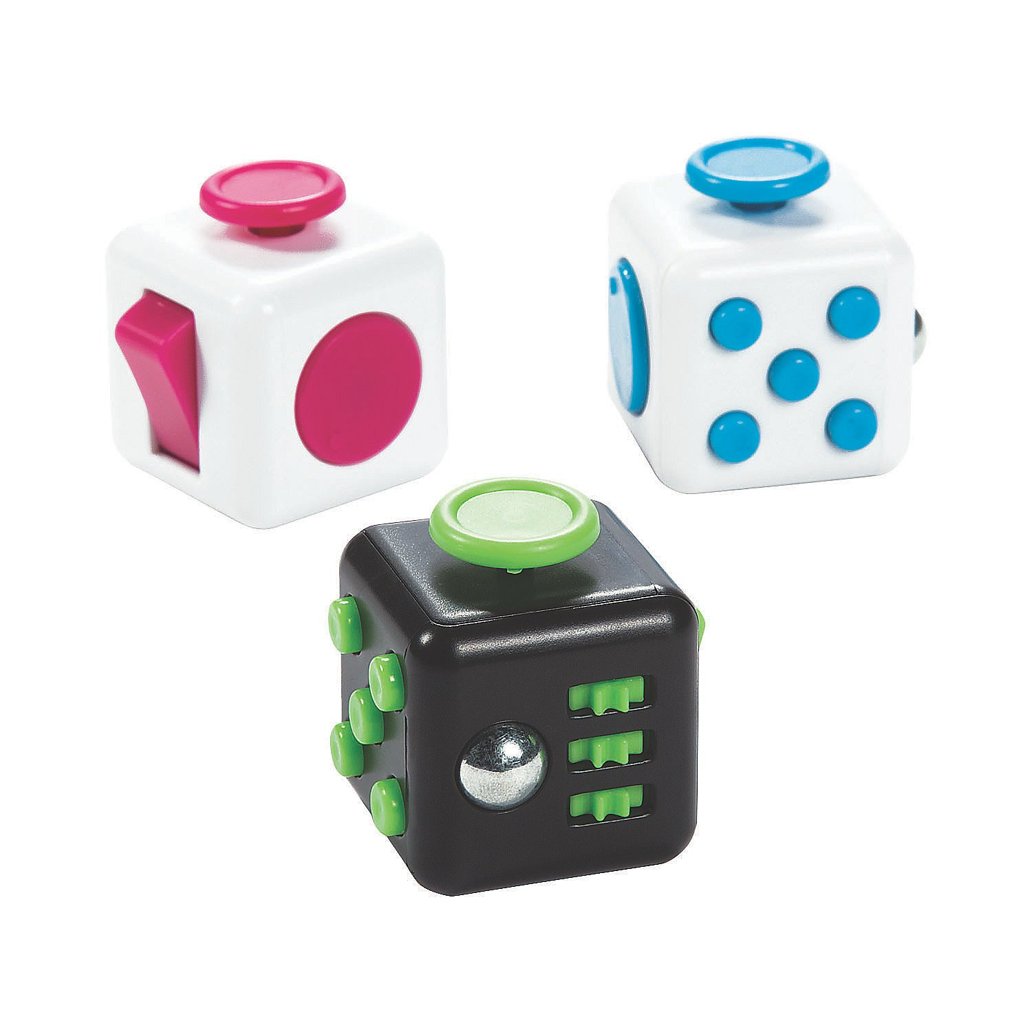 Fun Express Fidget Busy Block Cubes (Set of 6 Games) Active Play Toys - Great to Keep Kids Busy