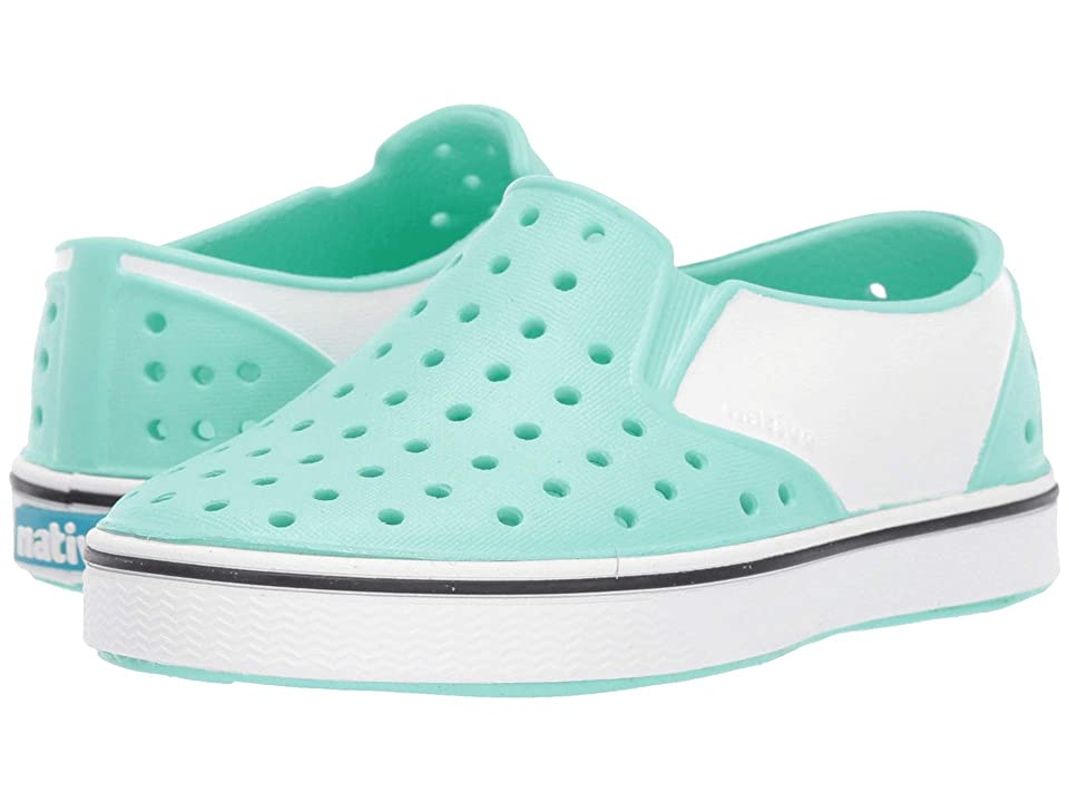 Native Kids Shoes Miles Block (Toddler/Little Kid) (Glass Green/Shell White/Shell Block) Kids Shoes