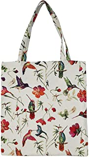 Signare Tapestry Reusable Grocery Eco Friendly Shopping Tote Bag in Floral and Bird Design (Hummingbird)