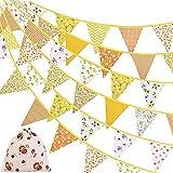 Ropniik Banderines de Tela de 40 pies con diseño Floral Vintage Reutilizable triángulo Bandera Guirnalda decoración banderines para Bodas,Fiestas de cumpleaños(Amarillo)