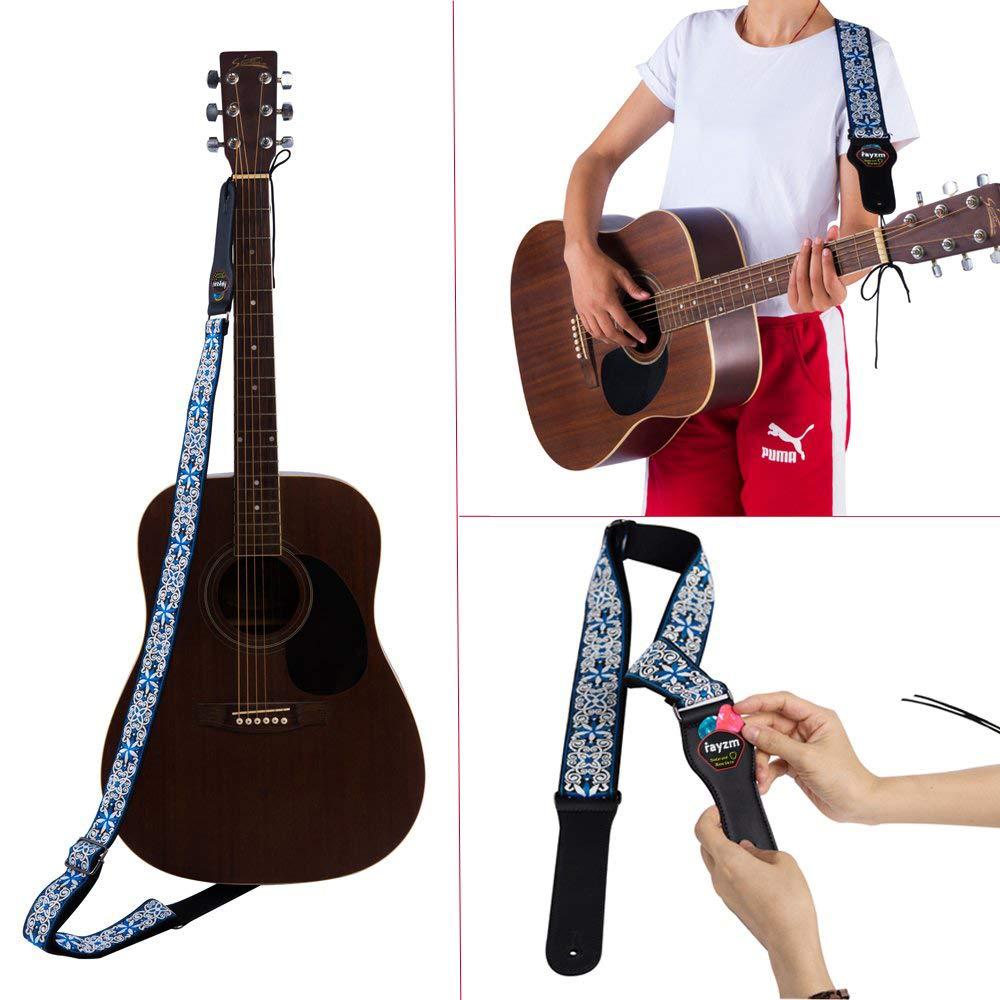 Rayzm correa de guitarra bordada, correa de algodón con tejido ...