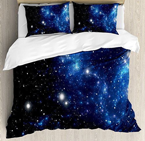 Ambesonne Constellation Duvet Cover Set, Outer Space Star Nebula Astral Cluster Astronomy Theme Galaxy Mystery, 3 Piece Bedding Set with Pillow Shams, Queen/Full, Blue Black White