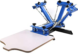 SHZOND Screen Printing Press 4 Color 1 Station Silk Screen Machine 21.7