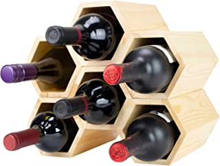 Atterstone Customizable Honeycomb Wine Rack, Wall Mounted Wine Bottle Display Rack, Stylish and Unique Wooden Hexagonal Cells, Holds up to 6 Bottles