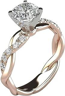 Evangelia.YM Women's Promise Engagement Rings, Temperament Love Lingering Twist Bridal Micro-Laid Zircon Diamond Elegant Statement Wedding Band Ring (Rose Gold, 7)
