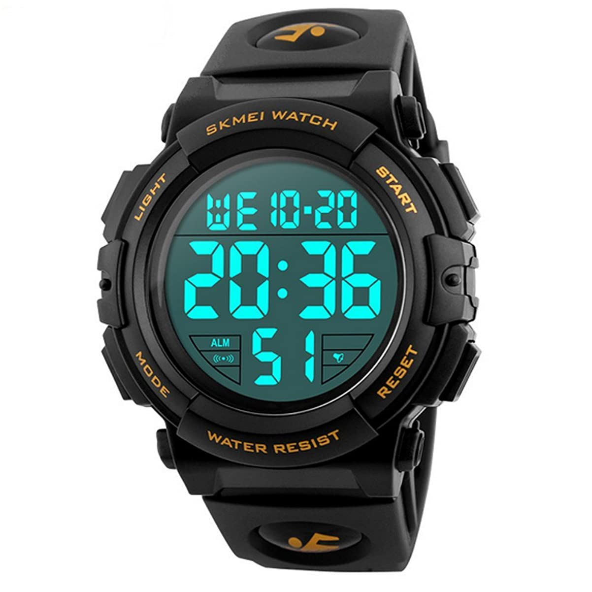 宿る十代の若者たちホテルTimever(タイムエバー)デジタル腕時計 メンズ 防水腕時計 led watch スポーツウォッチ アラーム ストップウォッチ機能付き 50M防水時計 文字が大きくて見やすい (ゴールド)