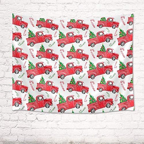 Tapiz de pared de Navidad Retro Camión rojo de Navidad con árboles de Navidad Tela de poliéster Colgante de pared Decoración para el hogar Dormitorio Sala de estar Tapices de dormitorio