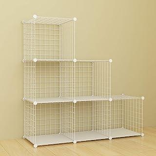 SIMPDIY estanteria Modular Malla Almacenamiento librería Armario 6 Cubos estanterias metalicas almacenaje Alta Capacidad...