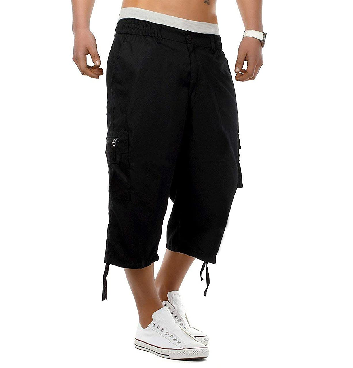 Mens Cargo Shorts 3/4 Relaxed Fit Below Knee Cargo Loose Short with Multi-Pockets