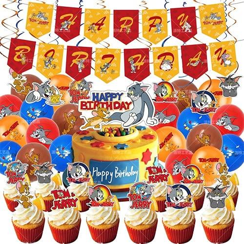 66 decorazioni per torta di compleanno Tom and Jerry con palloni per tom e jerry da appendere (66 pezzi, PT-SC-36).