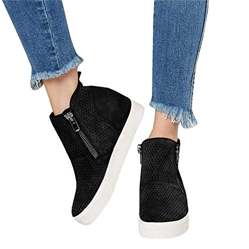 ddd233ba212 softome Women s Wedge Heel Suede High Top Sneakers Side Zipper Platform  Breathable Ankle Boots