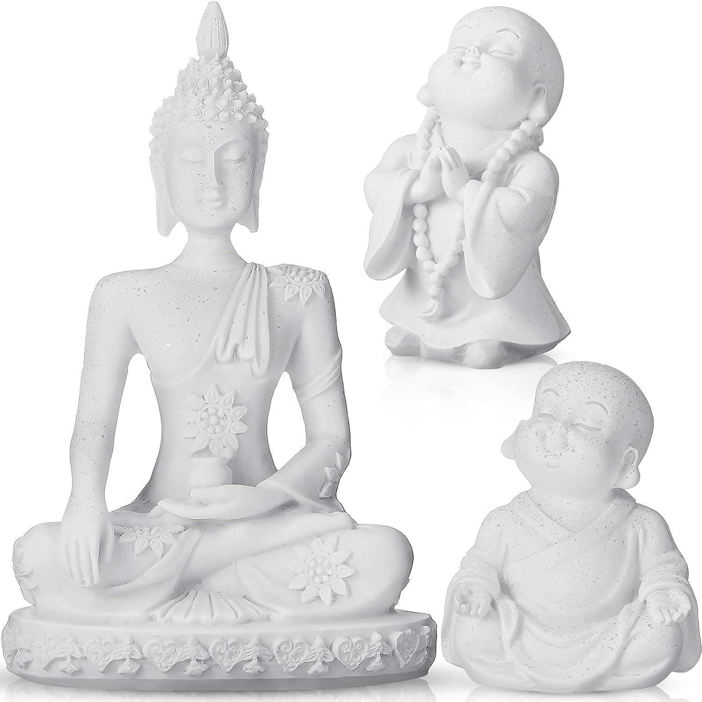 3 Pieces Buddha Fish Aquarium Decoration Sitting Rock Sand Buddha Statue, A Little Monk with Beads, Buddhist Meditation Ornament Decors for Fish Tank Aquarium (White)