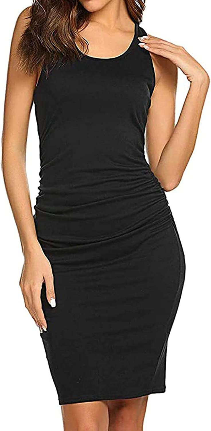 Women's Casual Sleeveless Tank Ruched Bodycon Sundress Midi Fitted Racerback T Shirt Dress
