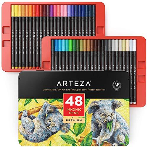 ARTEZA Inkonicファインライナー細字ペン、色番号付きファインチップマーカー 48本セット、0.4mmチップ、エルゴノミックバレル、塗り絵、描画、ディテーリング向けの鮮やかなアソートカラー