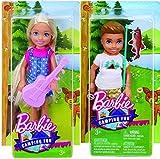 Barbie Camping Fun - Chelsea w/Ukulele and Boy w/Fishing Pole Bundle