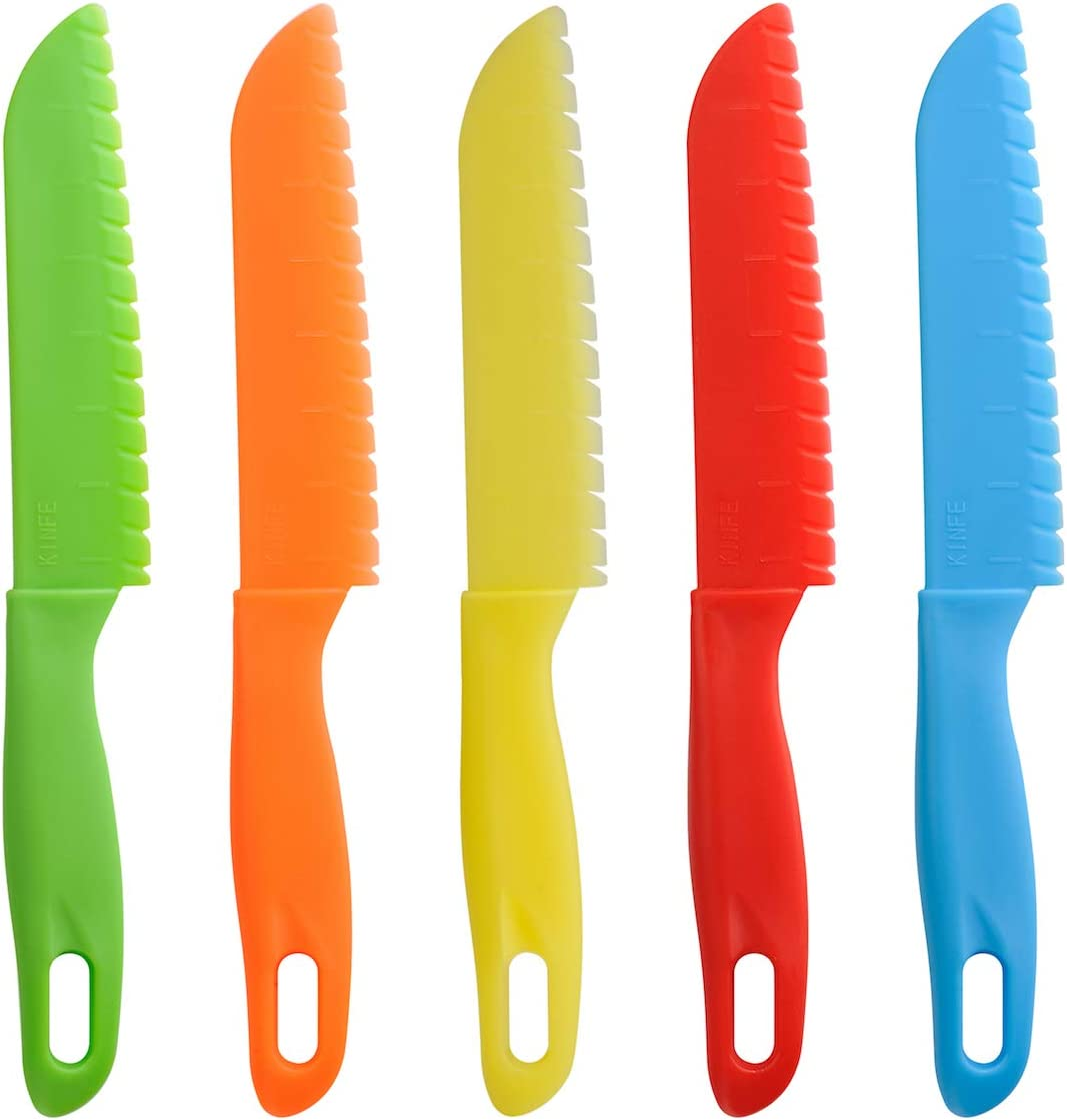 5 cuchillos de cocina para niños de ONUPGO, juego de cuchillos de cocina de plástico para niños, cuchillos de cocina seguros para niños, cuchillos de nailon para chef