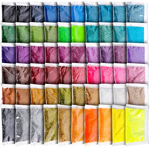 Fine Glitter for Resin, YGDZ 60 Colors 300g Assorted Craft Glitter Packs for Epoxy Resin, Nails, Slime, Tumblers, Body, Face, Eyeshadow, 5g Each Bag
