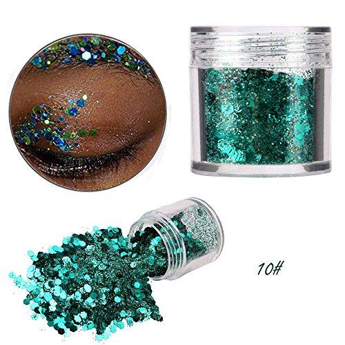 Paillettes poudre, 12 couleurs corps de visage Glitter paillette nail art Decor maquillage (10#)
