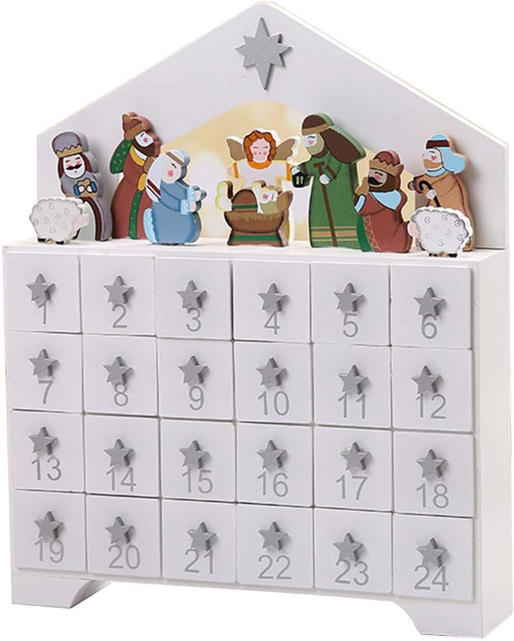 Reutilizable Advenimiento De La Navidad De Madera Calendario Con 24 Cajones, Belén, Cuenta Atrás Para Navidad Decoración Tradicional Con Puertas, Blanco