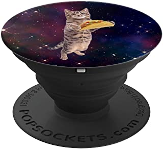 Cute Funny Cat Taco in Outer Space Stars Galaxy Kitty Tacos - PopSockets Grip and Stand for Phones and Tablets