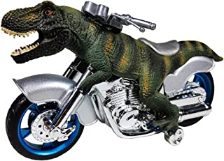 GreenKidz Dinosaur Toy Motorcycle Friction Powered T-Rex Toys for Boys and Toddler Tyrannosaurus Dino Vehicle Push and Go Car for 3 Year Old