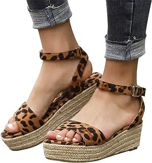 Gibobby Sandals for Women Wide Width,Women's Platform Sandals Casual Summer Flatform Ankle Buckle Strap Open Toe Sandals