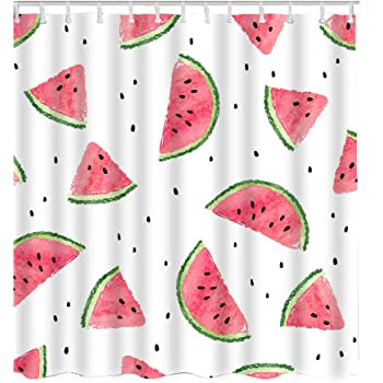 Teal Waterproof Polyester Fabric Bathroom Curtain LIVILAN Summer Watermelon Shower Curtain Set 70.8 x 70.8