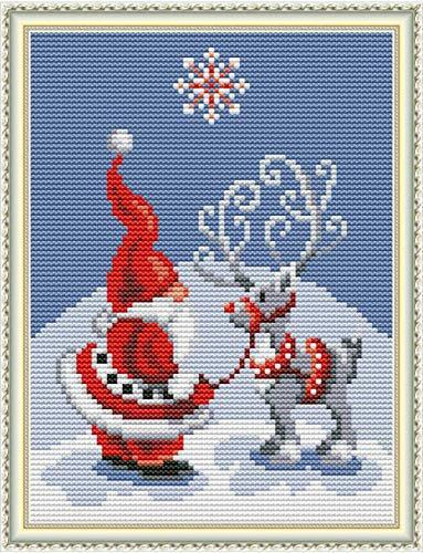 Cross Stitch Stamped Kits 11CT 9X11 inch Holiday Gift Pre-Printed Cross-Stitching Starter Patterns for Beginner Kids or Adults, Embroidery Needlepoint Kits Santa Claus Christmas Deer