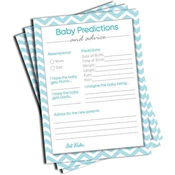 50 Baby Predictions and Advice - Blue Chevron - Baby Shower Game, New Mom & Dad Card or Mommy & Daddy to Be, Boy Babies New Parent Message Advice Book, Fun Boy Shower Party (50-Cards)
