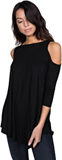 Alexander + David Women's Cold Shoulder Tunic Top Blouse, Basic Sexy 3/4 Sleeve Jersey T-Shirt Top