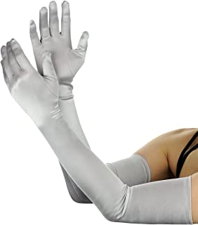 NYFASHION101 Women's Classic Long Opera Length Satin Gloves 16BL