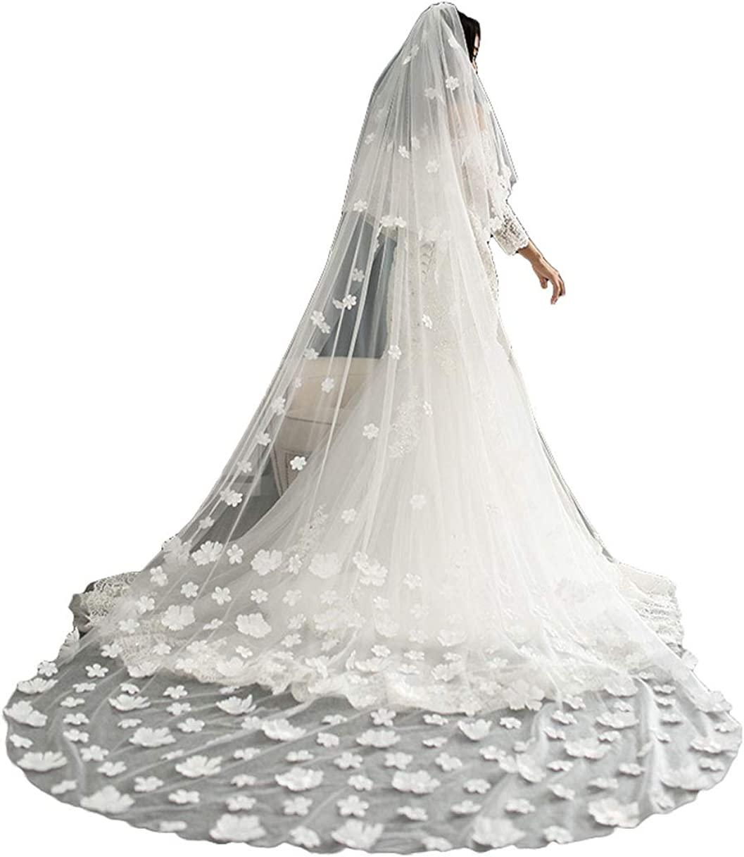 2 T Cathedral Wedding Veils with 3D Flowers for Brides with free Metal Comb