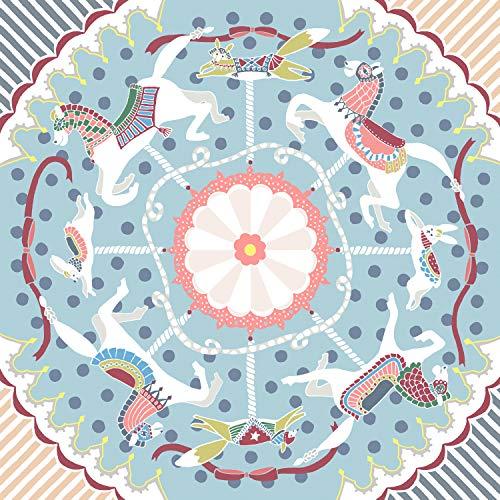 朝倉染布 風呂敷 - 約96×96cm 朝倉染布 超撥水風呂敷ながれ 平織 メリーゴーランド
