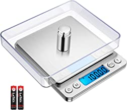 AMIR Digital Kitchen Scale, 500g/ 0.01g Mini Pocket Jewelry Scale, 100g calibration weight,Cooking Food Scale with Back-Lit LCD Display, 2 Trays, 6 Units, Auto Off, Tare, PCS Function, Stainless Steel