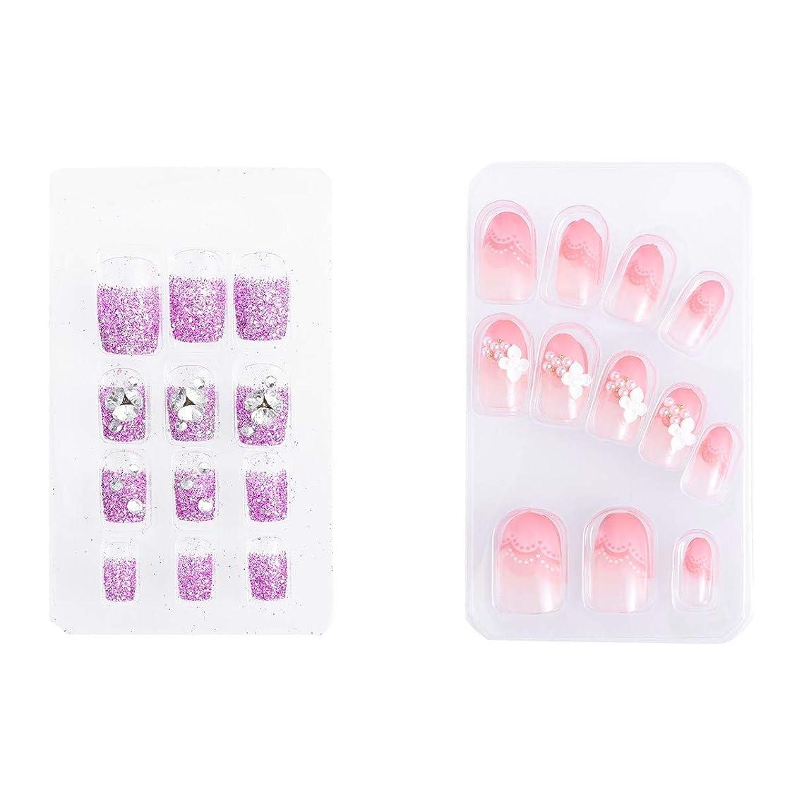 毎週医薬品かすかなFrcolor ネイルチップ 手作りネイルチップ 中等長さ ラインストーン ネイルアート 3D デコレーション 結婚式 パーティー 二次会 両面接着 2種類 48枚入