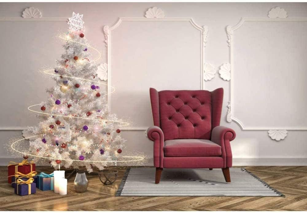Zhy YongFoto 5x3ft Christmas Photography Backdrop Christmas Tree Gift Fireplace Background Curtain Carpet Candle Interior Photo Frame Photo Backdrop Photography Party Portrait Photo Studio Props