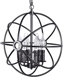 New Legend 6-Light Sphere Interlocking Rings Antique Black Finish Pendant Chandelier Hanging Ceiling Lamp Fixture