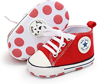 6-12 Months, red Isbasic Canvas Sneakers Shoes for Baby Boys Girls Toddler Non-Slip Rubber Sole Casual Infant Trainer