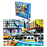 Giant Jigsaw Floor Puzzle for Kids, Police Car (2.9 x 1.9 Ft, 35.3 x 23.5 in, 48 Pieces)