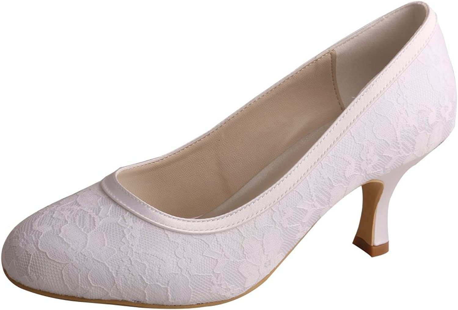 Wedopus MW858 Womens Slip-on Pumps Closed Toe Mid Heel Plain Lace Bridal Wedding shoes