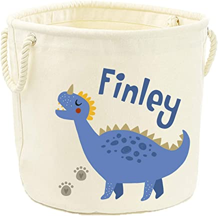 Direct Ltd Personalised Name Blue Dinosaur Canvas Toy Storage Tub  40x60cm
