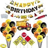 48 piezas de construcción Kits de suministros para fiestas de cumpleaños Feliz cumpleaños Globos de látex Banners Conjuntos Decoraciones para fiestas de camiones volquete Ingeniería Fiesta temática