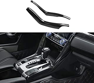 Kadore ABS Carbon Fiber Interior Gear Shift Molding Strip Cover Trim for 2016 2017 2018 2019 Honda Civic 10th Gen Sedan LHD 2-pc