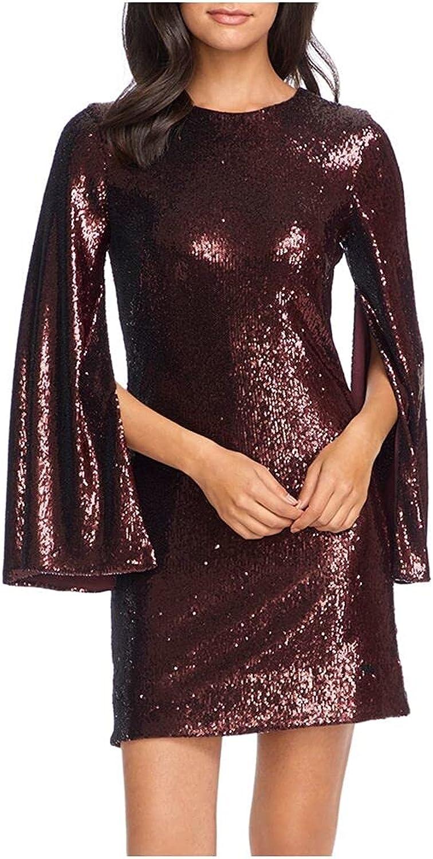 Dress the Population Women's Liza Longsleeve Cape Sleeve Short Sequin Dress, Port, XL