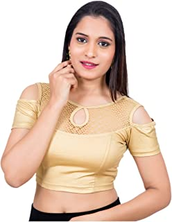 Neckbook Womens Lycra Cold Shoulder Short Sleeves Designer Stretchable Princess Cut Readymade Saree Blouse (V051)
