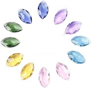 BIHRTC Pack of 12 Mariquesa Horse Eye Mixed Colors Crystal Beads Drops Chandelier Pendants Prisms Suncatcher Curtain DIY Parts Window Hanging Ornament Decoration (1.5