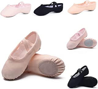 Ruqiji Canvas Ballet Shoes for Girls/Toddlers/Kids/Women, Ballet Practice Shoes/Full Sole Ballet Slippers/Better Fit Dance...