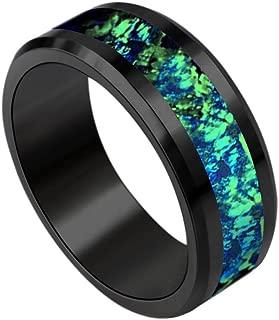 Wedding Ring Women Men Unisex Jewelry Black Tungsten Band with Green Opal