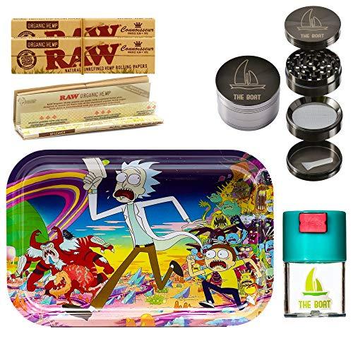 Imagen del producto THE BOAT Kit para Fumar - Bandeja para Liar Rick and Morty 27,5cm x 17,5cm + Raw Papel de Liar Kings Size (2 Unidades) + Grinder metálico 4 Partes con rascador - para su Uso en Tabaco.